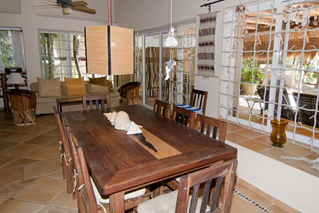 Dining  room at  Casa Yamulkan vacation rental villa on Soliman Bay