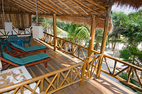Second story patio at this Casa Yamulkan vacation rental villa on Soliman Bay
