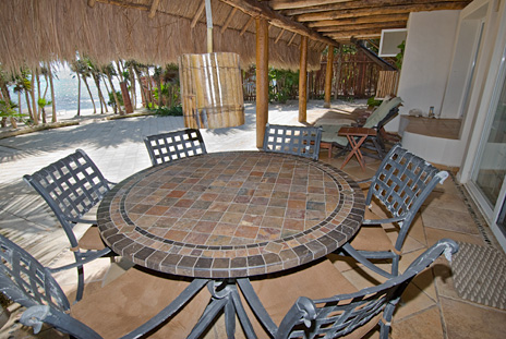 First floor patio at Casa Yamulkan vacation rental beach home on Soliman Bay