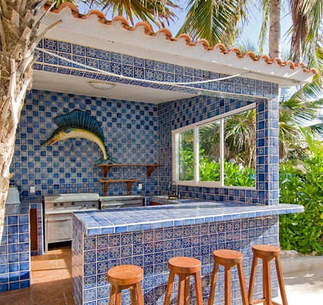 Poolside bar and BBQ at Villa Yardena Luxury Vacation Rental Villa on Soliman Bay