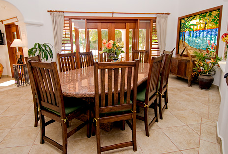 Dining room at Villa Yardena  luxury Vacation Rental property