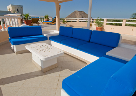 Rooftop seating area at  Yardena Soliman Bay Luxury Vacation Rental Villa