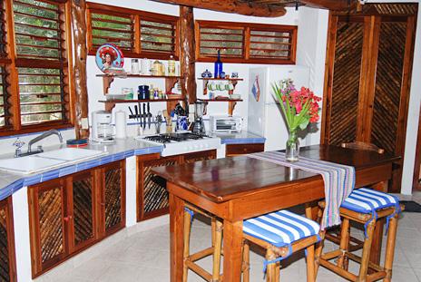 Kitchen at Nah Yaxche vacation rental villa on Soliman Bay