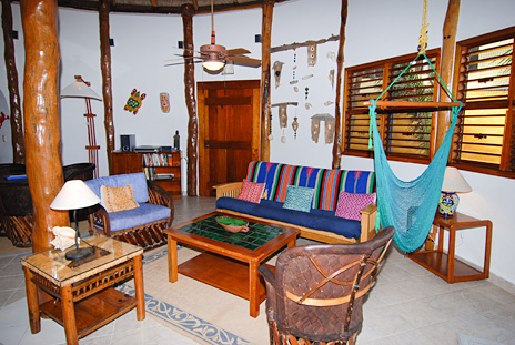 Living room  at Nah Yaxche vacation rental home on Soliman Bay